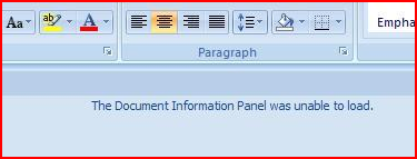 Document Information Panel Error