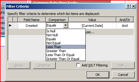 Working DataForm Filter Criteria Dialog