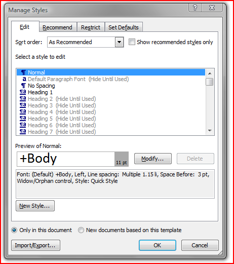 Word Manage Styles Dialog