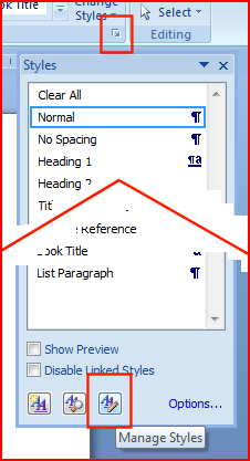 Opening Manage Styles in Word 2007
