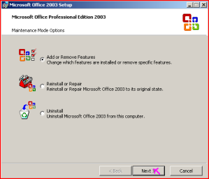 Change installation Dialog