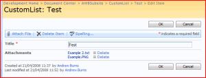 Editing an Example List Item