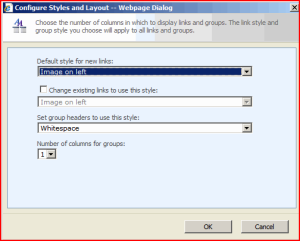Configure Styles and Grouping Dialog box