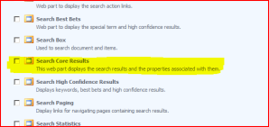 Adding a Search Core Results Web Part
