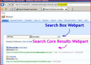 Results Page with Search Box and Core Results Web parts