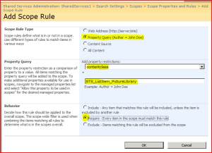 Add Scope Rule Page