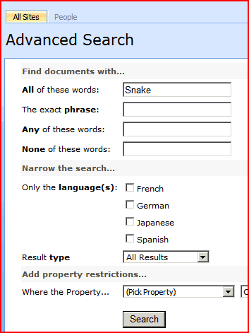 Advanced Search Screen with Search term of Snake