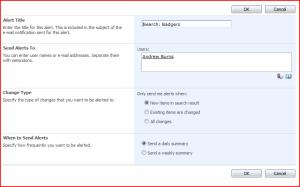 Alert Me Configuration Page