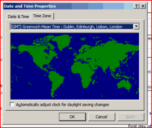 Windows Timezone dialog on the Server