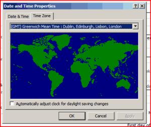 Windows Timezone dialog on the Server