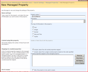 New Managed Property Page