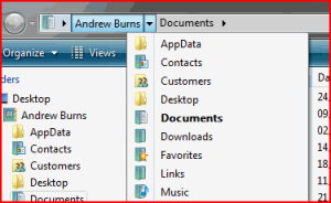 The breadcrumb in Windows Explorer in Vista