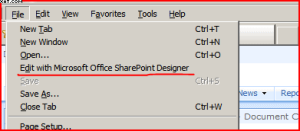 Opening the page in SharePoint Designer.