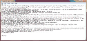 An XML file that is shown when you open the Page item from Outlook
