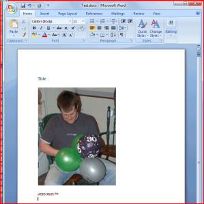Word document with image