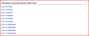 Standard content query web part