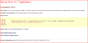 A standard Error page showing lots of details