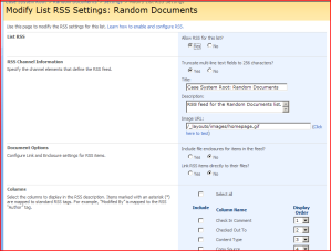 RSS Settings Page
