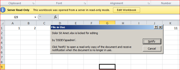 Lock excel file as read only | File is locked for editing